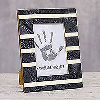 Resin mosaic photo frame, 'Modern Stripes' (4x6) - Striped Resin Mosaic Photo Frame from India (4x6)