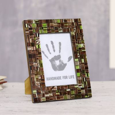 Glass mosaic photo frame, 'Memory Glitz' (4x6) - Brown and Green Glass Mosaic Photo Frame (4x6)
