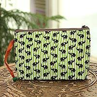 Batik cotton cosmetic bag, 'Elephant Harmony in Kiwi' - Elephant Motif Batik Cotton Cosmetic Bag in Kiwi from India