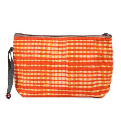 Plaid Motif Batik Cotton Cosmetic Bag in Scarlet from India