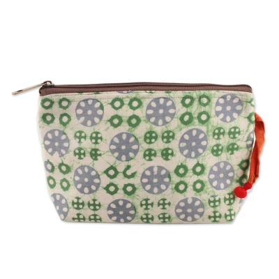 Block-Printed Batik Cotton Cosmetic Bag in White from India