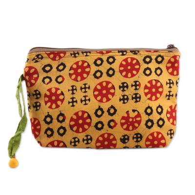 Block-Printed Batik Cotton Cosmetic Bag in Amber from India