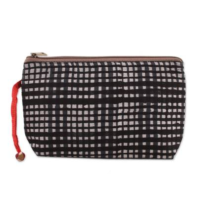Plaid Motif Batik Cotton Cosmetic Bag from India