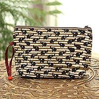 Batik cotton cosmetic bag, 'Tan Elephants' - Elephant Motif Batik Cotton Cosmetic Bag in Tan from India