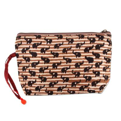 Elephant Motif Batik Cotton Cosmetic Bag in Tan from India