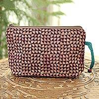 Batik cotton cosmetic bag, 'Magical Triangles in Maroon' - Maroon and Melon Batik Cotton Cosmetic Bag from India
