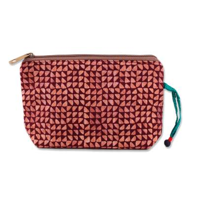 Maroon and Melon Batik Cotton Cosmetic Bag from India