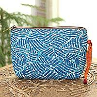 Batik cotton cosmetic bag, 'Creative Design in Azure' - Wave Motif Batik Cotton Cosmetic Bag in Azure from India