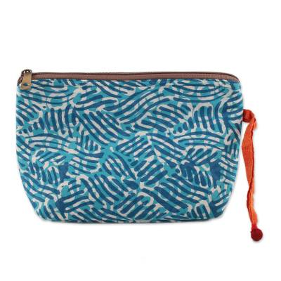Wave Motif Batik Cotton Cosmetic Bag in Azure from India