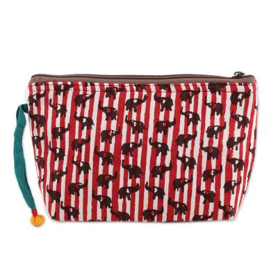 Elephant Motif Batik Cotton Cosmetic Bag in Chili from India