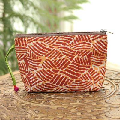 Batik cotton cosmetic bag, 'Creative Design in Russet' - Wave Motif Batik Cotton Cosmetic Bag in Russet from India