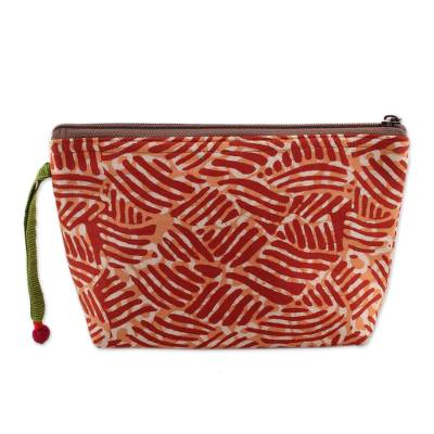 Wave Motif Batik Cotton Cosmetic Bag in Russet from India