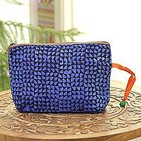 Batik cotton cosmetic bag, 'Magical Triangles in Navy' - Navy and Cerulean Batik Cotton Cosmetic Bag from India