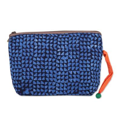 Navy and Cerulean Batik Cotton Cosmetic Bag from India