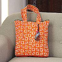 Batik cotton tote, 'Bright Stripes' - Striped Block-Printed Batik Cotton Tote from India