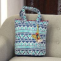 Batik cotton tote, 'Mystical Morning' - Triangle Motif Block-Printed Batik Cotton Tote from India