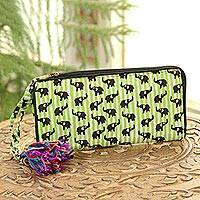 Batik cotton wallet, 'Elephant Harmony in Kiwi' - Elephant Motif Batik Cotton Wallet in Kiwi from India