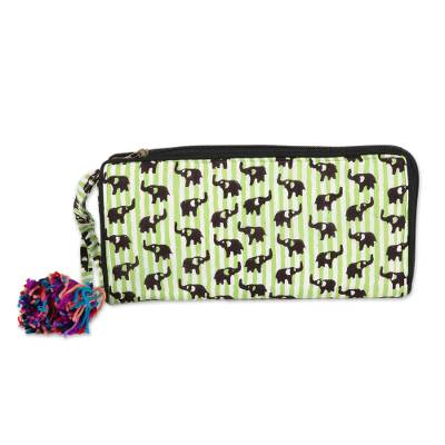 Elephant Motif Batik Cotton Wallet in Kiwi from India