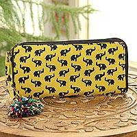 Batik cotton wallet, 'Elephant Maize' (9 inch) - Elephant Motif Batik Cotton Wallet in Maize (9 Inch)