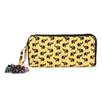 Elephant Motif Batik Cotton Wallet in Maize (9 Inch)