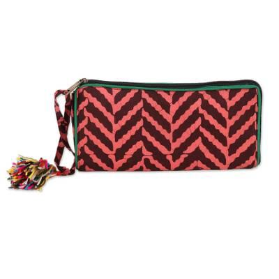 Batik Cotton Wallet in Strawberry and Mahogany from India
