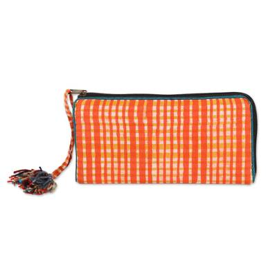 Plaid Motif Batik Cotton Wallet in Scarlet from India