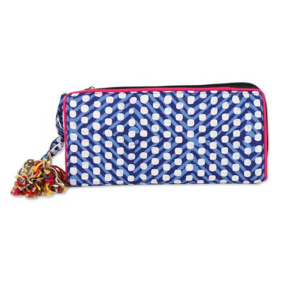 Lapis and Cerulean Batik Cotton Wallet from India