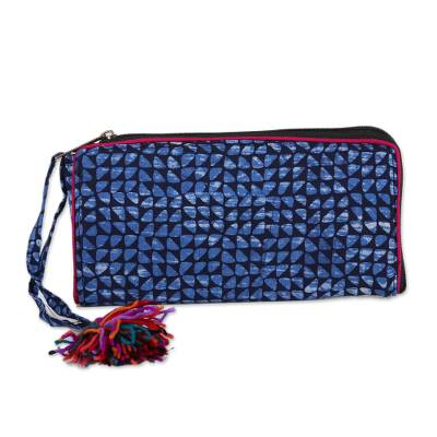 Navy and Cerulean Batik Cotton Wallet from India
