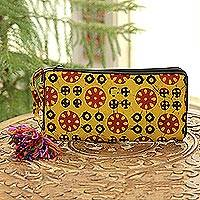 Batik cotton wallet, 'Creative Beauty in Amber' - Batik Cotton Wallet in Amber from India