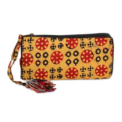 Batik Cotton Wallet in Amber from India