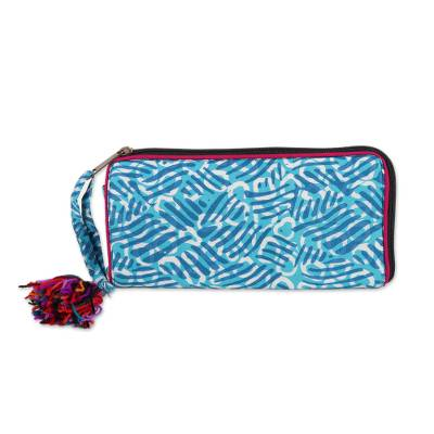 Wave Motif Batik Cotton Wallet in Azure from India