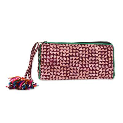 Maroon and Melon Batik Cotton Wallet from India