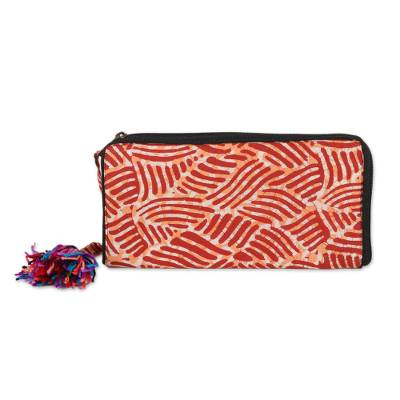 Wave Motif Batik cotton Wallet in Russet from India