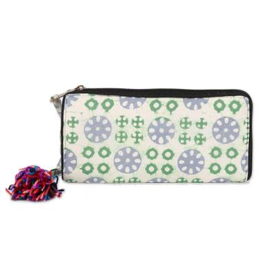 Block-Printed Batik Cotton Wallet in White from India