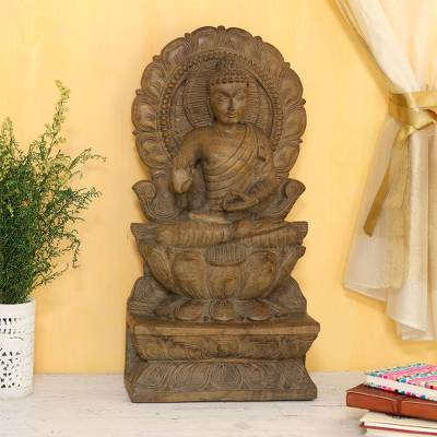 Mango wood sculpture, 'Buddha Majesty' - Hand-Carved Mango Wood Buddha Relief Sculpture from India
