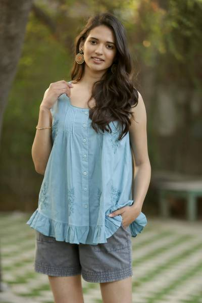 Cotton shorts, 'Summer Relaxation in Slate' - Drawstring Cotton Shorts in Slate from India