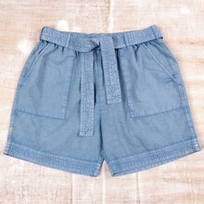 Cotton shorts, 'Summer Relaxation in Sky Blue' - Drawstring Cotton Shorts in Sky Blue from India