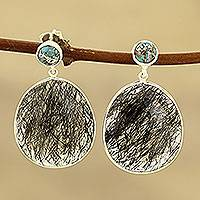 Tourmalinated quartz dangle earrings, 'Elegant Veins' - Tourmalinated Quartz and Composite Turquoise Dangle Earrings