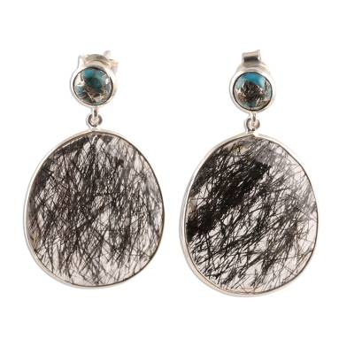 Tourmalinated quartz dangle earrings, 'Elegant Veins' - Tourmalinated Quartz and Composite Turquoise Dangle Earrings