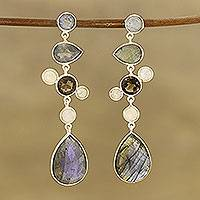 Multi-gemstone dangle earrings, 'Unity Sparkle' - 34.5-Carat Multi-Gemstone Dangle Earrings from India