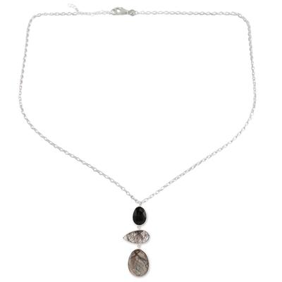 Multi-gemstone pendant necklace, 'Splendorous Evening' - 26.5-Carat Multi-Gemstone Pendant Necklace from India