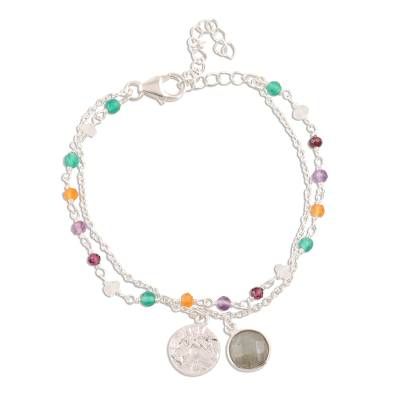 Multi-gemstone bracelet, 'Colorful Charm' - Multi-Gemstone Sterling Silver Bracelet from India