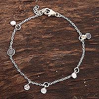 Labradorite charm bracelet, 'Cool Aurora' - Artisan Crafted Labradorite Charm Bracelet from India