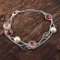 Multi-gemstone station bracelet, 'Glamorous Glisten' - Multi-Gemstone Station Strand Bracelet from India