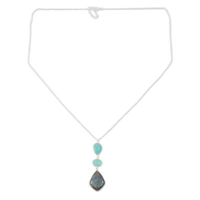 Labradorite and chalcedony pendant necklace, 'Aurora Combination' - Labradorite and Chalcedony Pendant Necklace from India