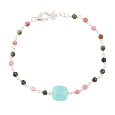 Chalcedony and Tourmaline Pendant Bracelet from India