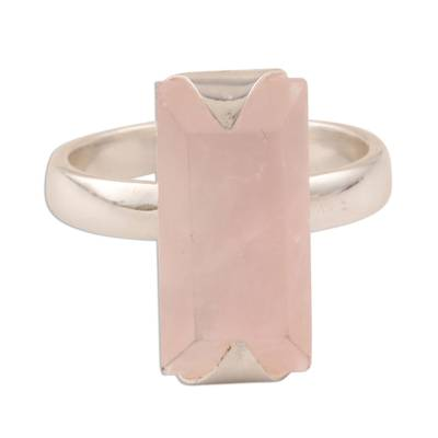 Rose quartz cocktail ring, 'Glorious Crystal' - 3-Carat Rose Quartz Cocktail Ring from india
