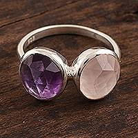 Amethyst and rose quartz cocktail ring, 'Delightful Fusion' - 7-Carat Amethyst and Rose Quartz Cocktail Ring from India