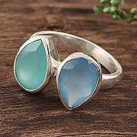 Chalcedony cocktail ring, 'Teardrop Sparkle' - 4-Carat Teardrop Chalcedony Cocktail Ring from India