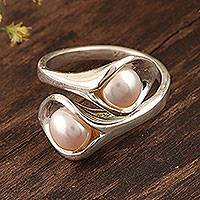 Cultured pearl wrap ring, 'Lily Twins' - Lily Flower Cultured Pearl Wrap Ring from India